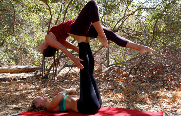 acro yoga pose- back bird