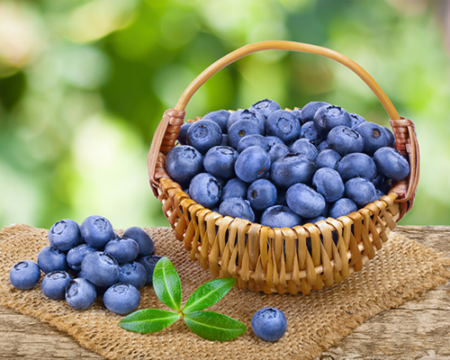 basket of blueberries | superfoods that help with stress