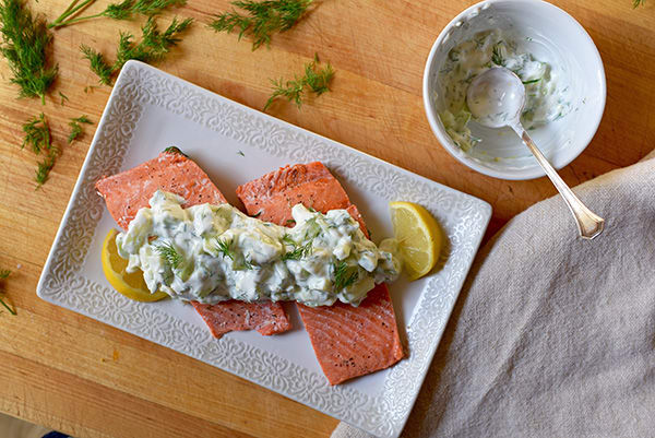 Oven Poached Salmon With Cuber Sauce
