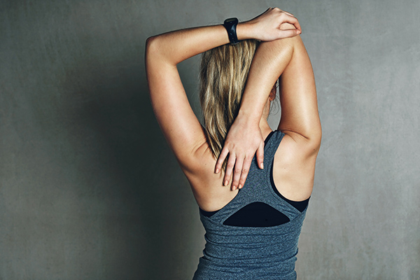 Fit woman doing stretches