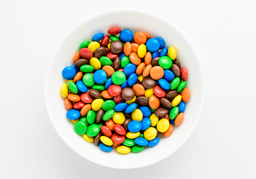 bowl of m&ms | worst halloween candy