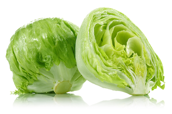 iceberg lettuce nutrition- cut in half