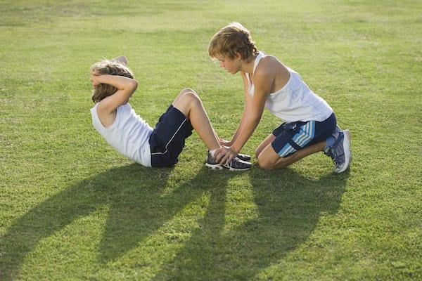 presidential fitness test - kids doing sit ups