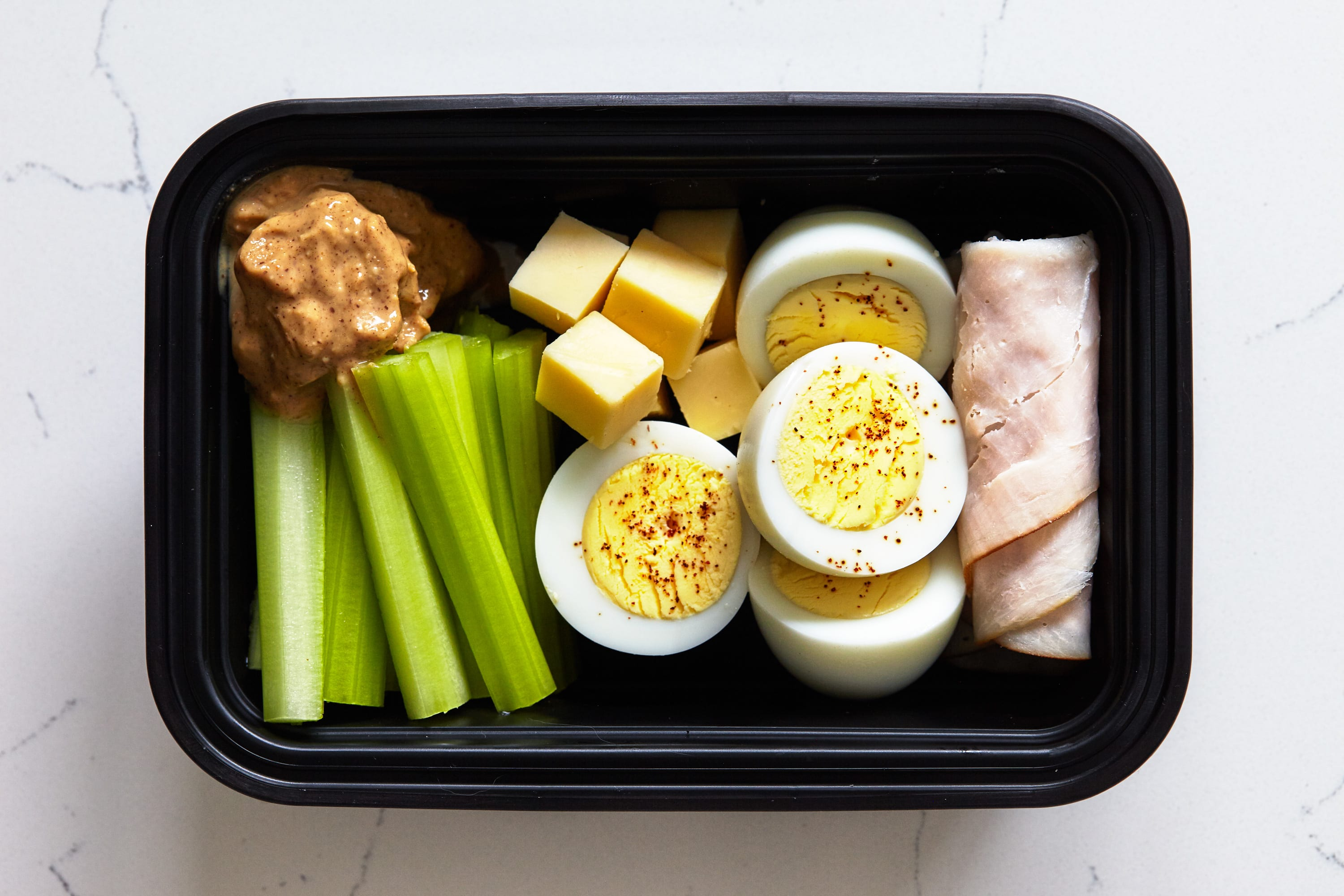 Simple No Cook Snacks with Celery, Peanut Butter, Eggs, turkey