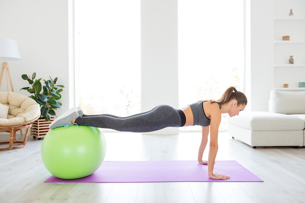 lower ab workouts- stability ball plank