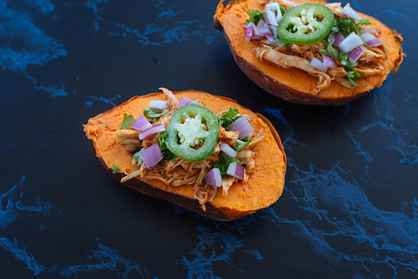 Barbecue Chicken Baked Sweet Potatoes Recipe