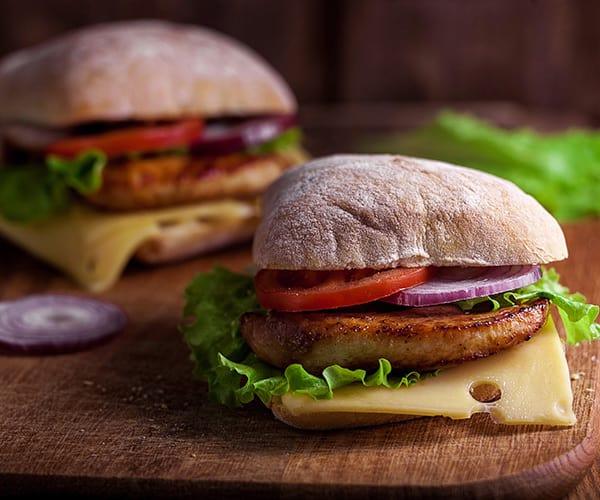 Chicken-Ciabatta-Sandwiches with Homemade Chicken Patties