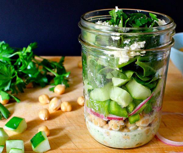 Chickpea Salad with Minty Yogurt Dressing
