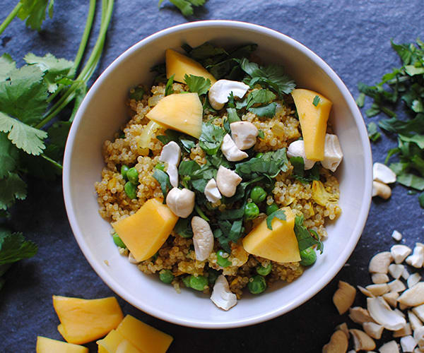 Curried Quinoa and Peas with Cashews and Fresh Mango