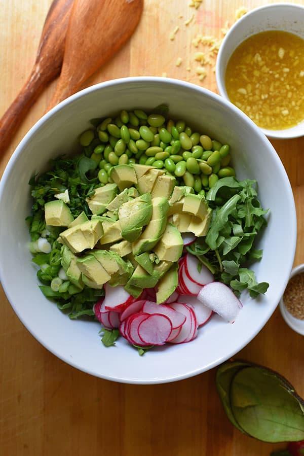Edamame and Radish Salad with Avocado