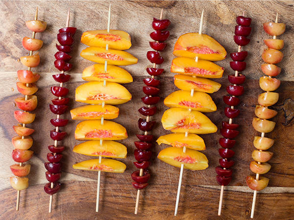 Grilled Peaches and Cherries