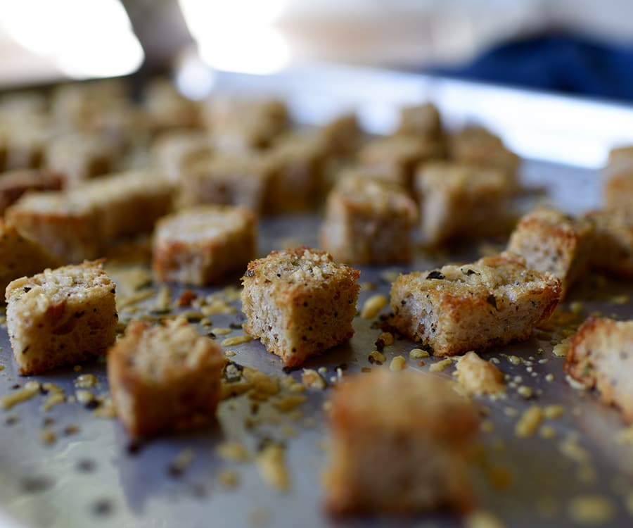 Homemade Croutons with Parmesan and Herbs Recipe