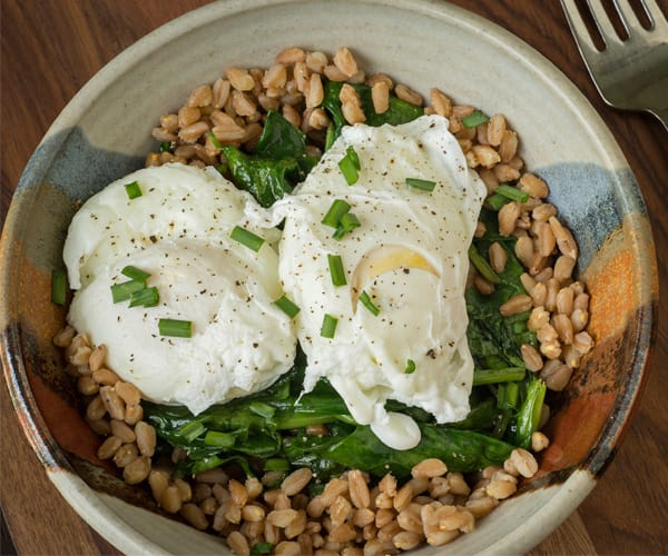 Poached Eggs with Greens and Brown Rice