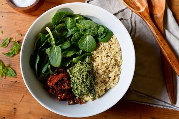 Quinoa with Sun-Dried Tomatoes and Pesto