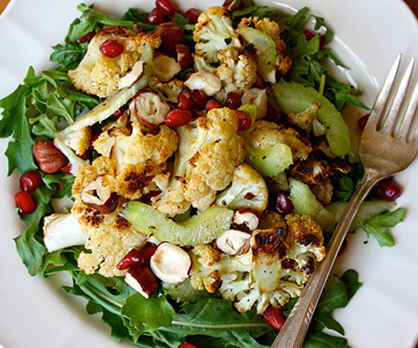 Roasted Cauliflower Salad with Pomegranate and Hazelnuts