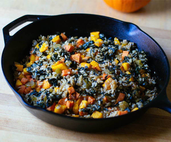 Roasted Pumpkin, Sweet Potato, and Brown Rice Pilaf