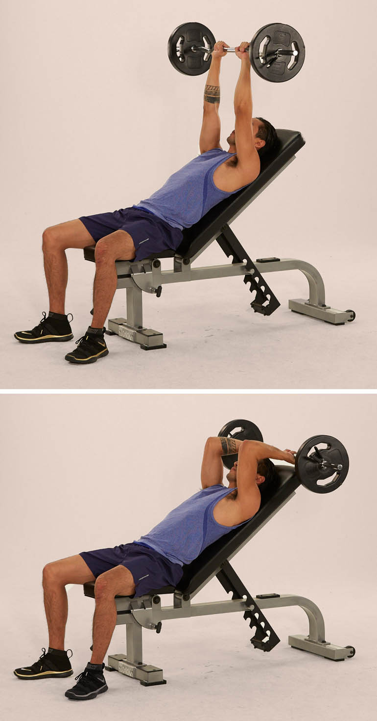ez bar overhead triceps extension