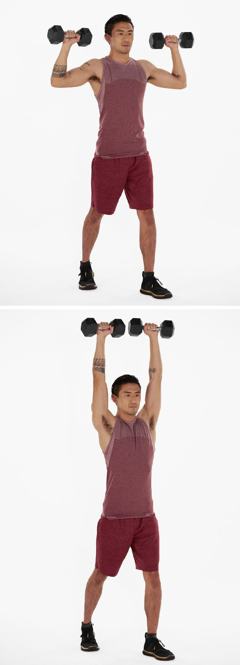 standing military press shoulder workouts