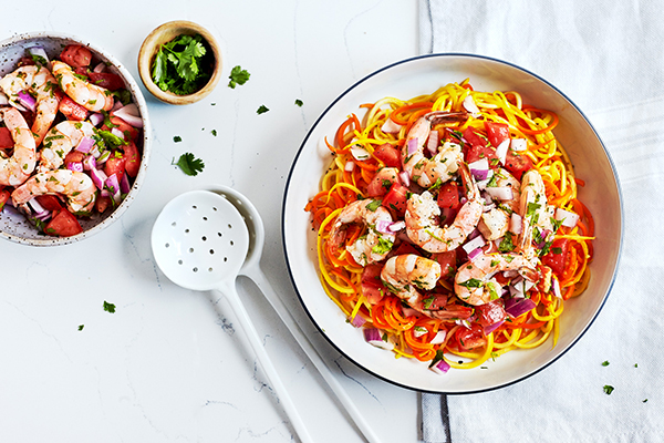Fresh Tomato Salsa Shrimp over Carrot and Summer Squash Noodles