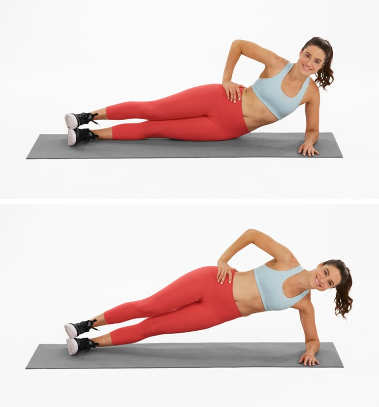 hip workouts exercises | side plank hip lift