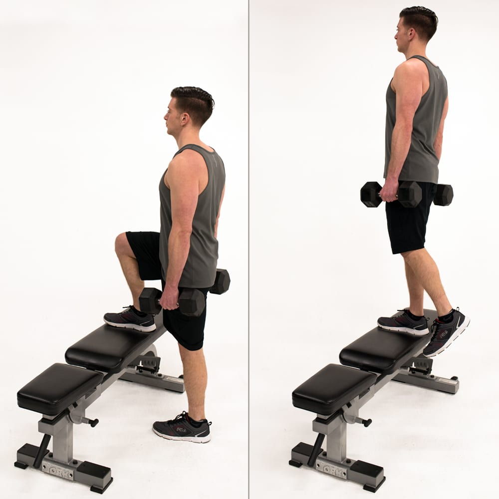 dumbbell weighted step-up man bench