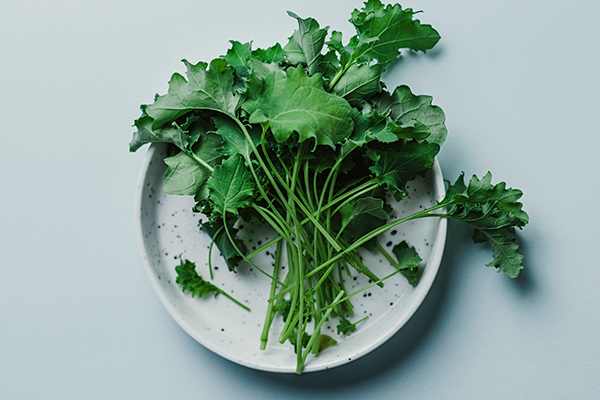 Baby kale greens on a plate