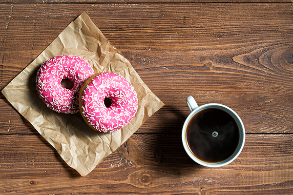 Vegan donuts with coffee