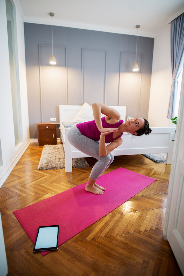 back stretches- revolved chair pose