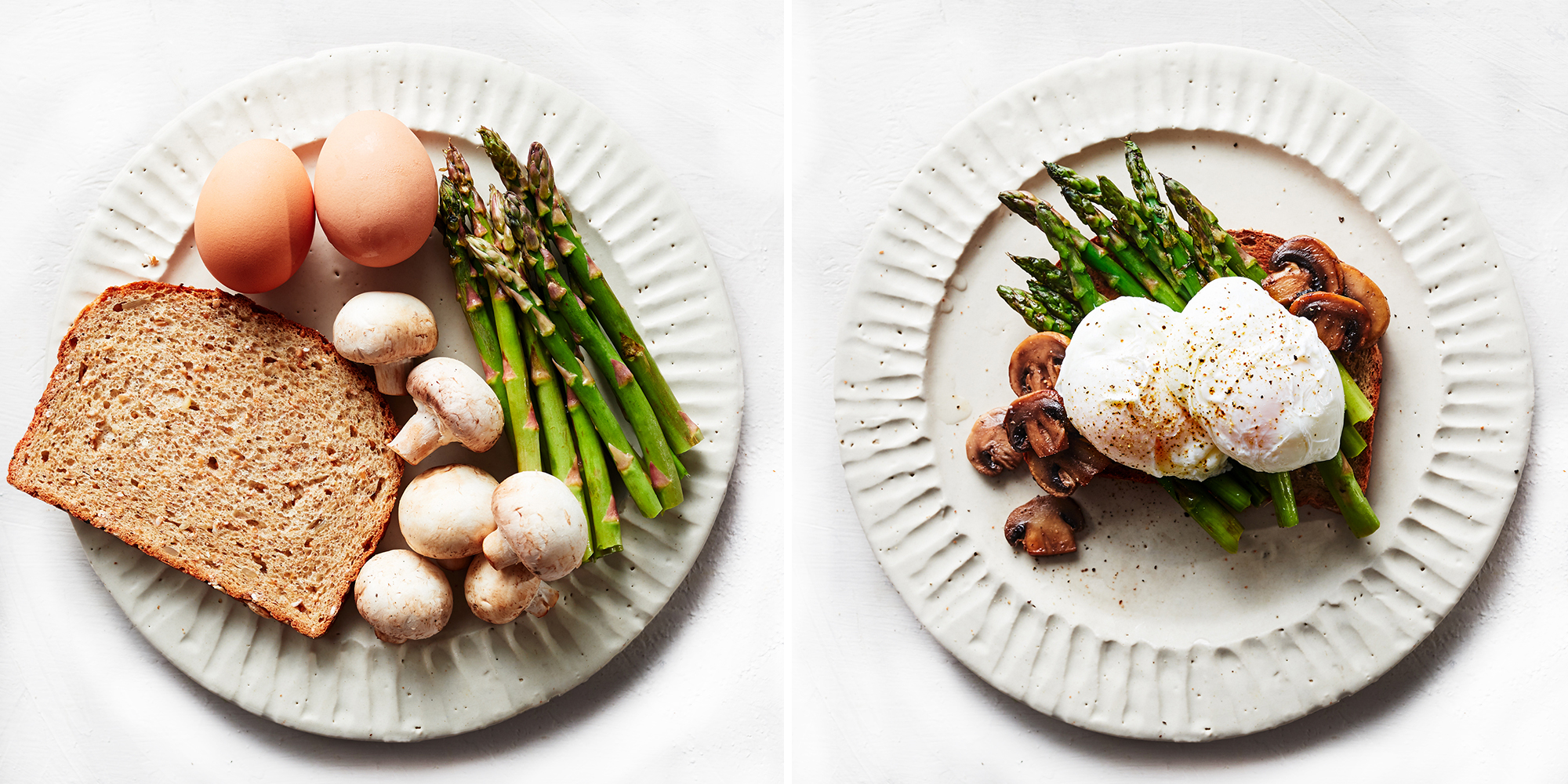 Poached Eggs With Asparagus and Mushrooms