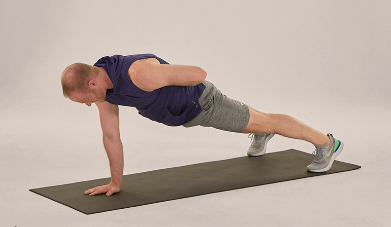single arm plank man