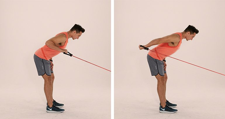 triceps resistance band kickback