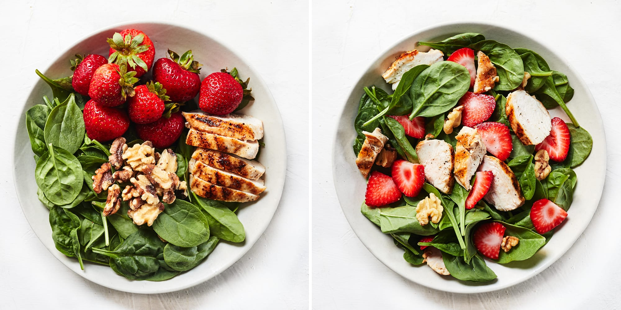 Chicken, Strawberry, and Spinach Salad with Walnuts