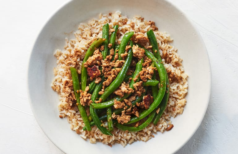 Ground Turkey and Rice with Green Beans
