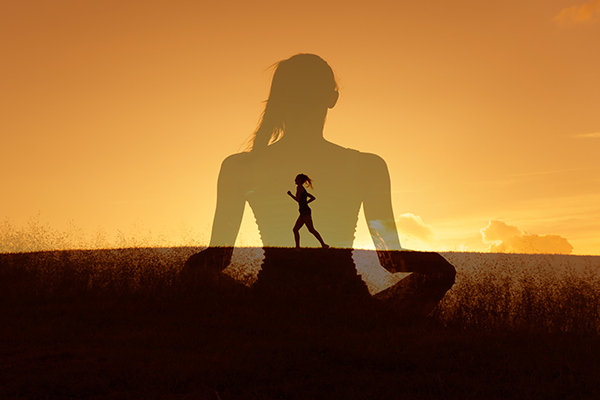 silhouette of woman meditating overlayed with woman running | how to run a faster 5k