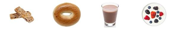 muscle recovery foods bagel granola bars chocolate milk yogurt berries