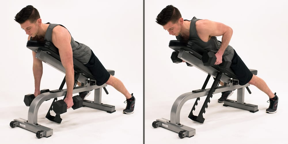inverted row - dumbbell chest-supported row man bench