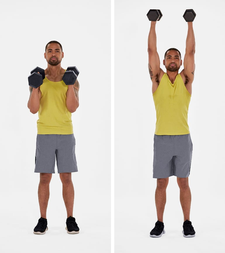dumbbell overhead shoulder press standing man