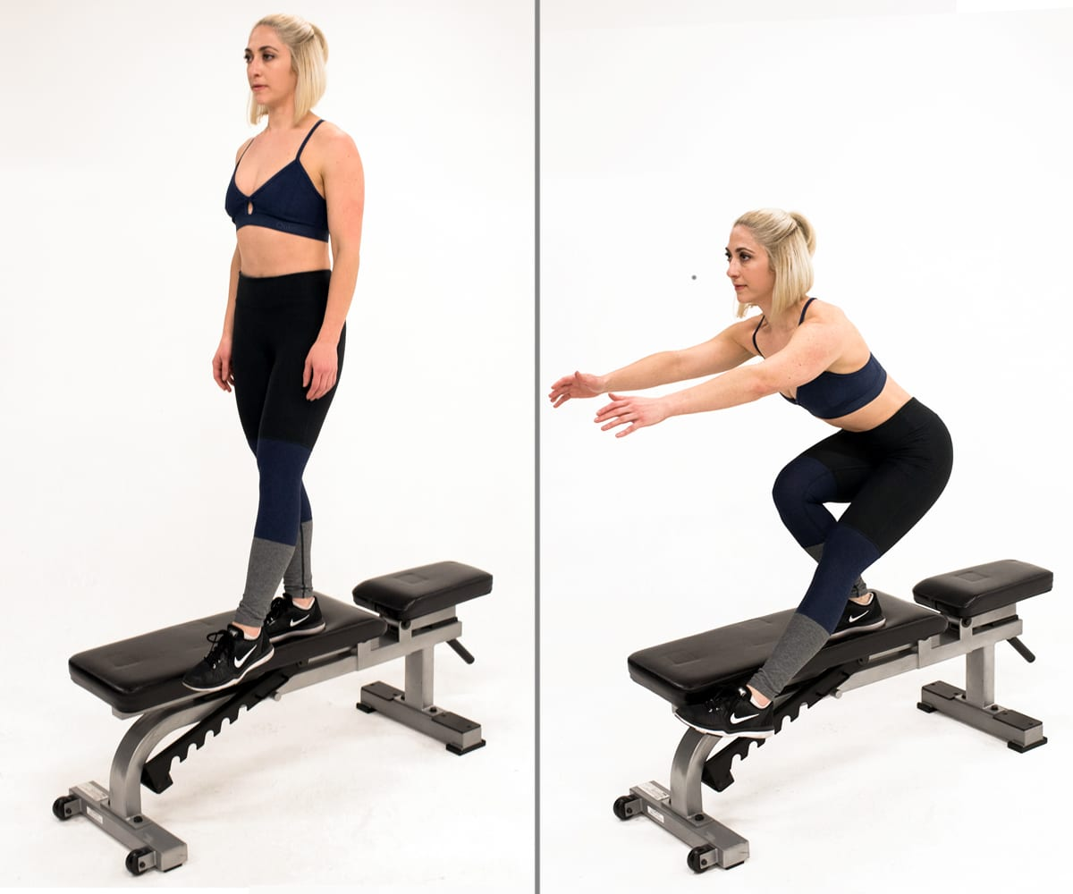 single leg pistol squat bench woman proprioception