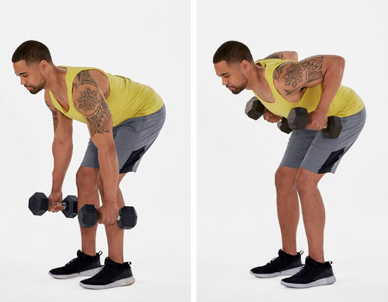 dumbbell bent over row rear delt exercises