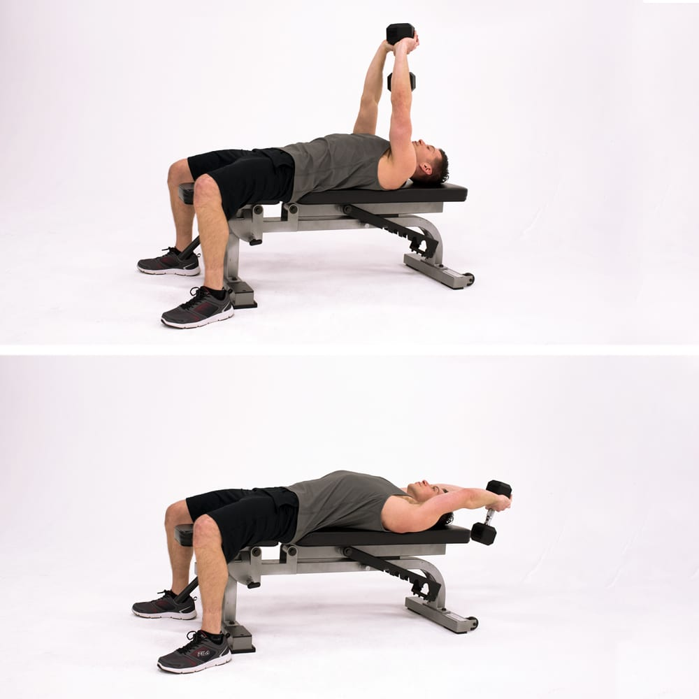 dumbbell pullover man bench lat exercises