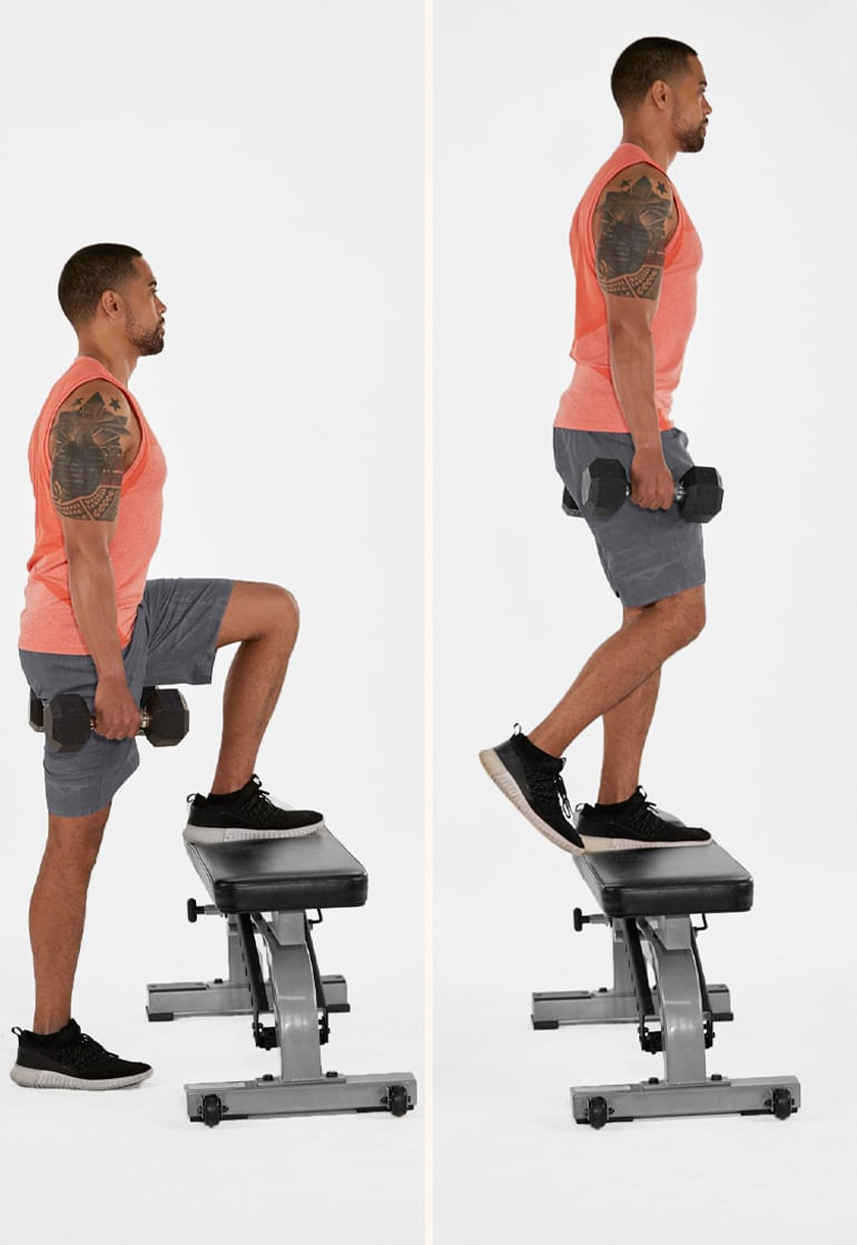 dumbbell step up gluteus medius exercises