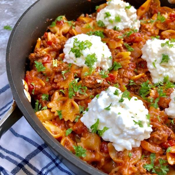 cottage cheese recipes- skillet lasagna