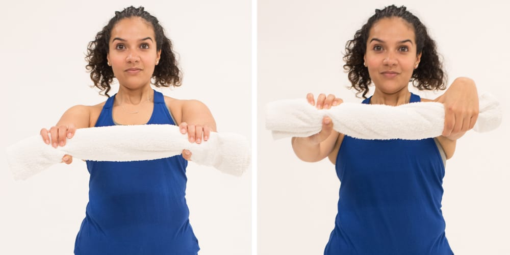 towel twist tennis elbow exercises