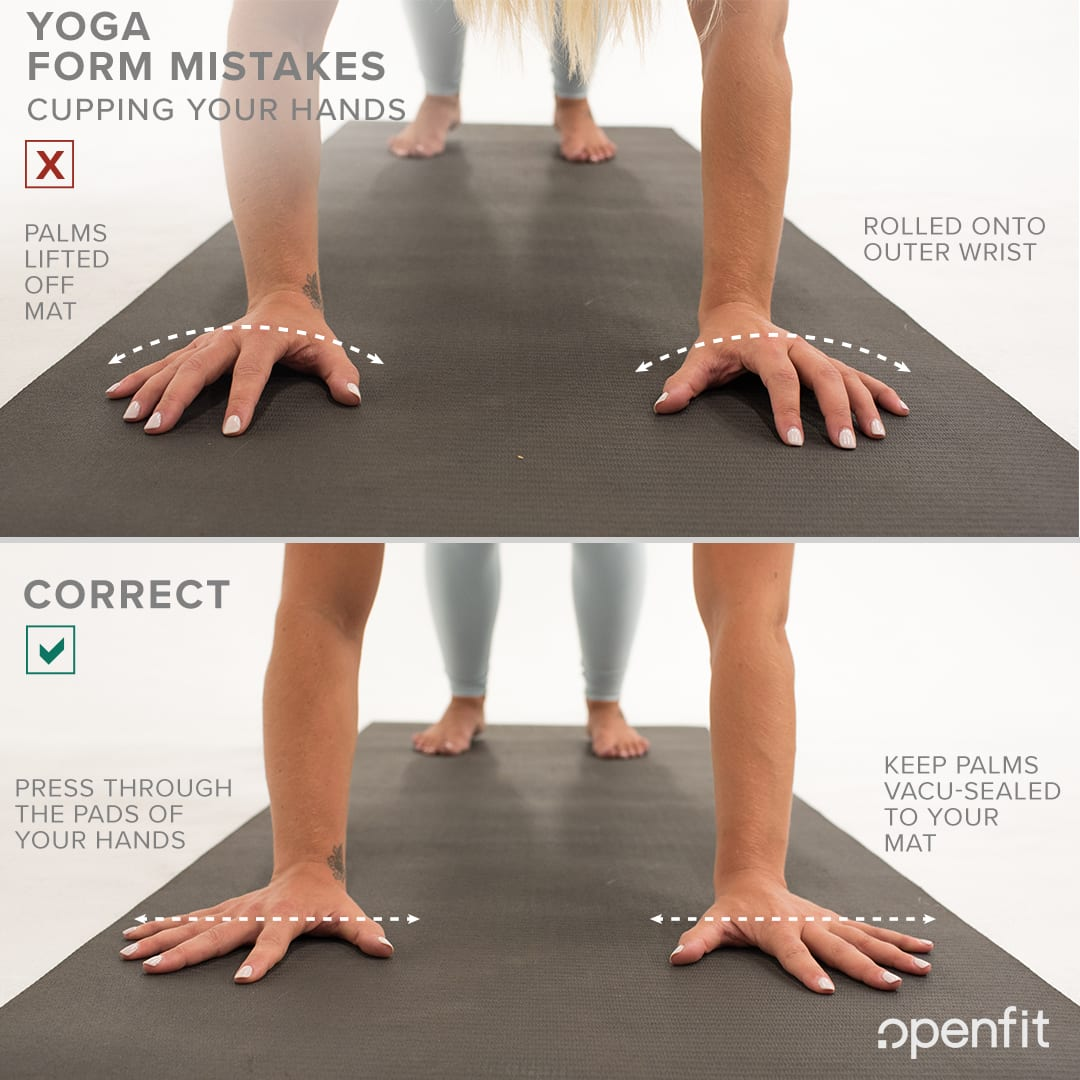 yoga form mistakes cupping hands downward facing dog