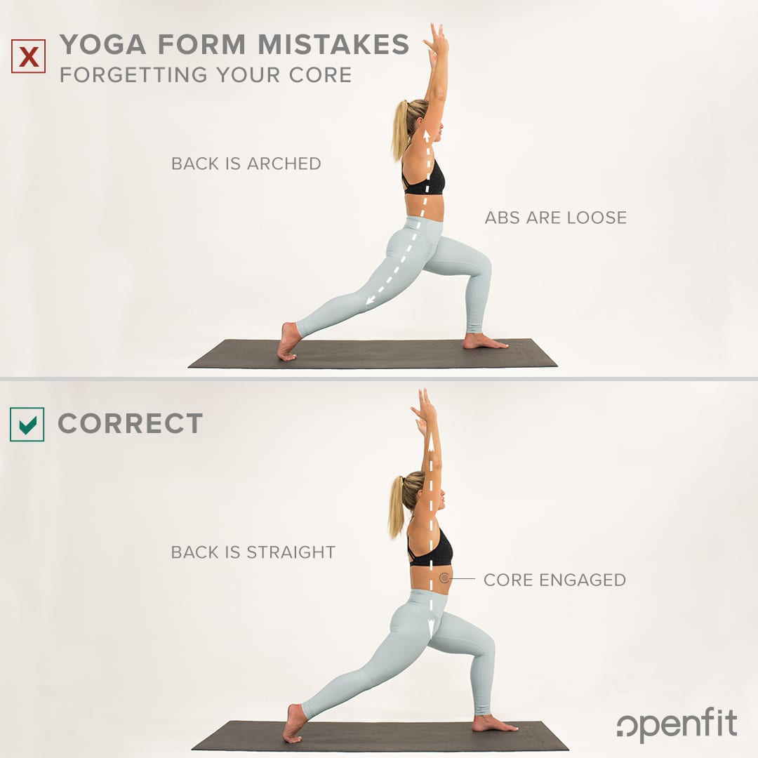 yoga form mistakes forgetting core crescent pose