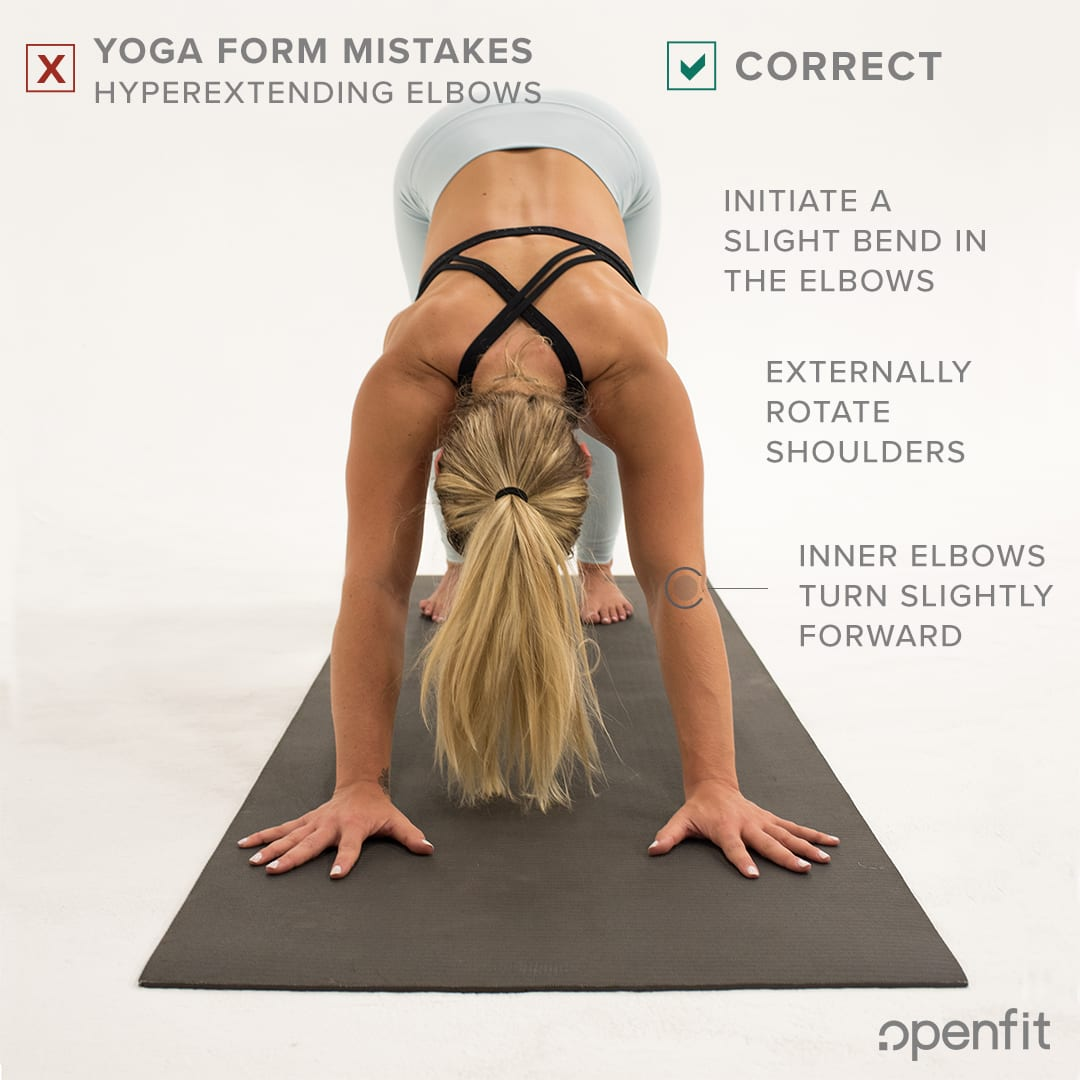 yoga form mistakes hyperextending elbows downward dog