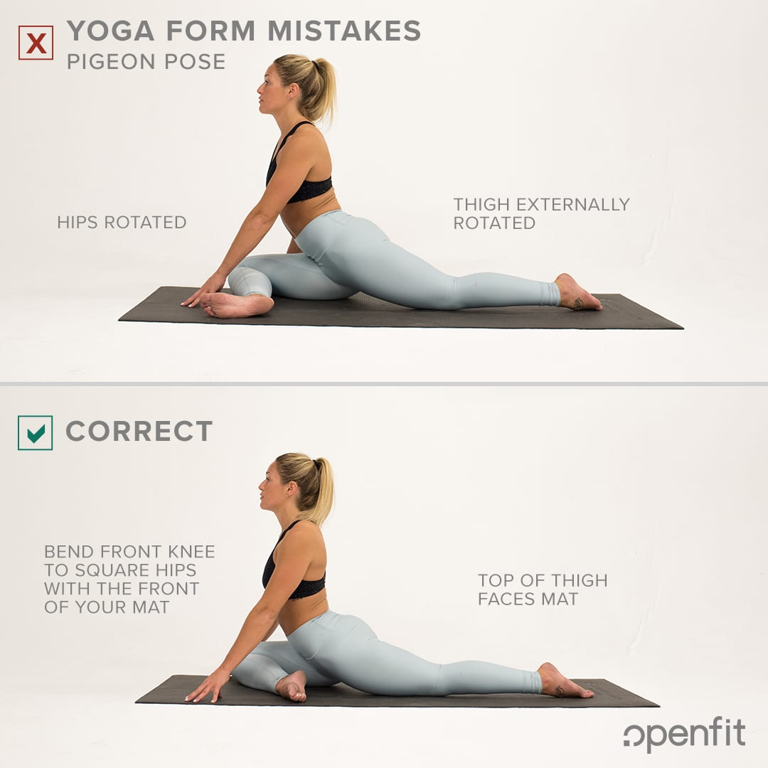 yoga form mistakes pigeon pose