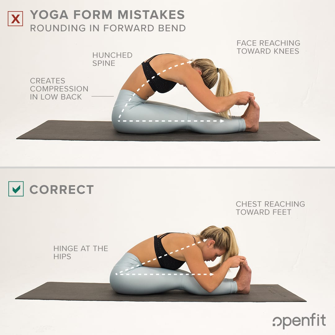 yoga form mistakes rounding spine seated forward fold