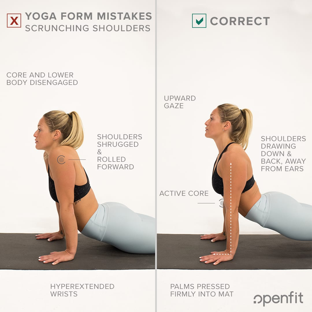 yoga form mistakes scrunch shoulders upward facing dog