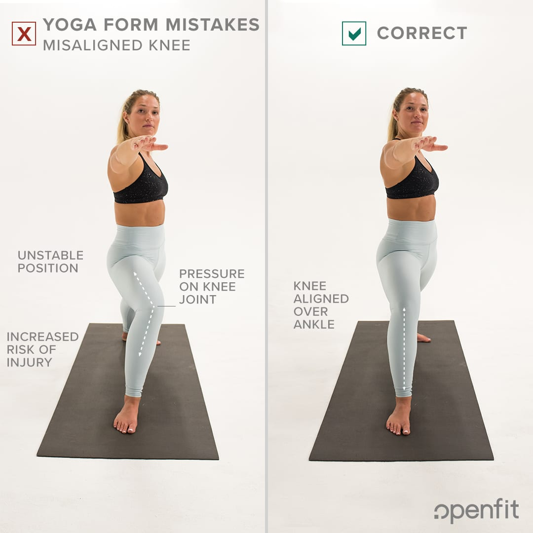 yoga form mistakes knee warrior 2